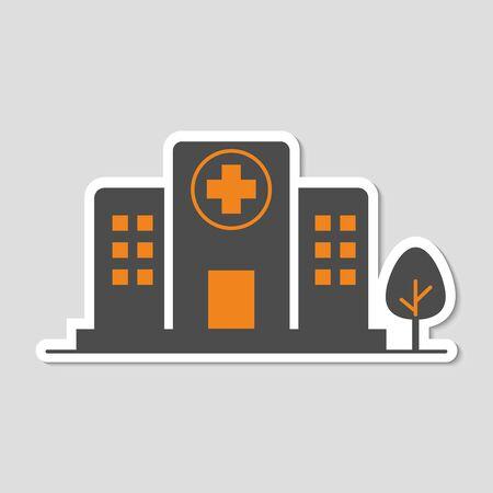 flat icons for Hospital buildings,sticker,vector illustrations Vettoriali