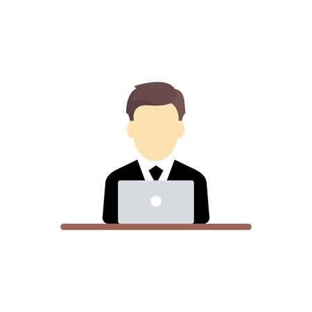 Businessman working on computer,vector illustrations