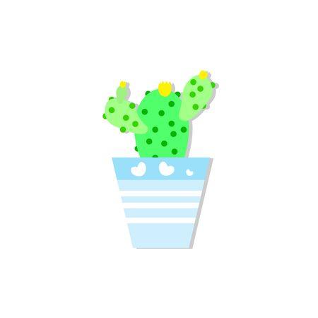 cactus in blue pot ,vector illustrations
