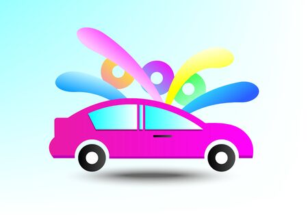 Car in colorful background,vector illustrations