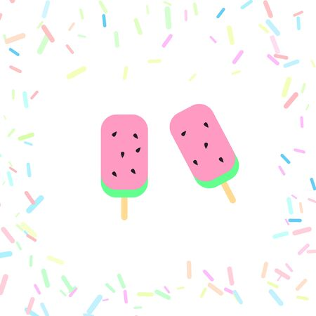 cute background of sweet ice cream,candy,vector,illustrations Ilustracja