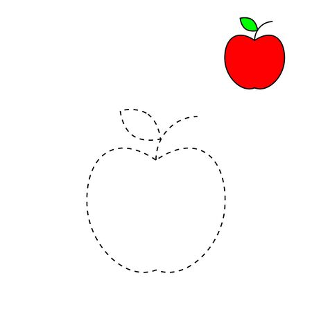 dashed line and color the picture for apple, the simple visual kid game with easy education level for preschool children,vector illustrations Ilustracja