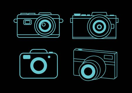 thin line for camera set,vector illustrations