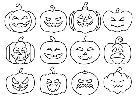 thin line icons set of Halloween scary pumpkins,vector illustrations