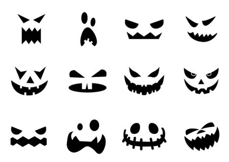 Scary Halloween pumpkin faces icons set,vector illustrations