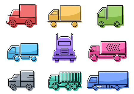 flat icons set,transportation,Truck,vector illustrations