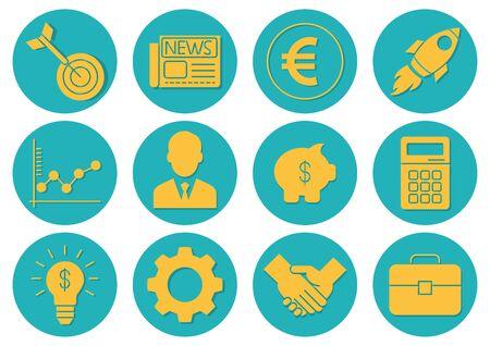 flat icons set,business,rocket,briefcase,gear,calculator,target,graph,businessman,piggy bank,newspaper,handshake,light bulb,vector illustrations