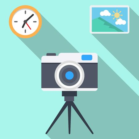 flat icons for camera,clock,picture,vector illustrations
