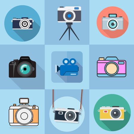 flat icons for camera and shadow,vector illustrations Ilustracja