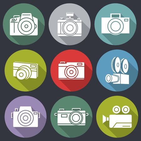 flat icons for Camera and shadow,vector illustrations