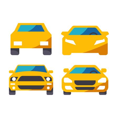 flat icons for Car,transportation,yellow color,vector illustrations