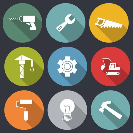 Flat icons for Engineer and construction icons,cunstruction crane,wrench,screwdriver,bulb,hammer,dozer,brush,gears, saw,vector illustrations