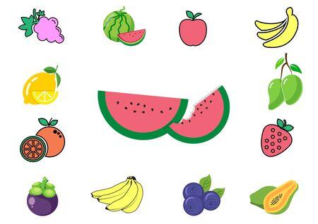 flat icons for fruits set, mangosteen, mango, watermelon, orange, strawberry, blueberry, apple, banana, grape, papaya, lemon.vector illustrations