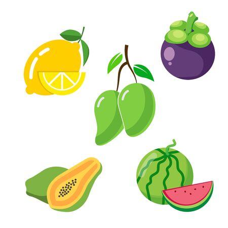 flat icons for fruits,lemon,mangosteen,mango,papaya,watermelon,vector illustrations