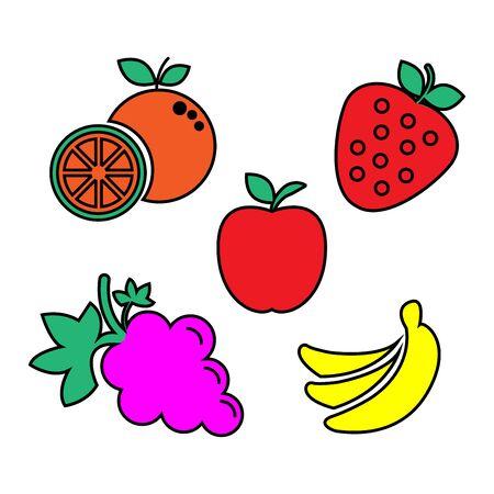flat icons for fruits, apple, banana, orange, grapes, strawberry, vector illustrations Ilustracja