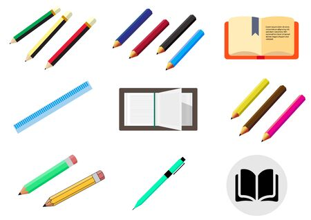 flat icons for pencils,pen,book,ruler.vector illustrations Ilustracja
