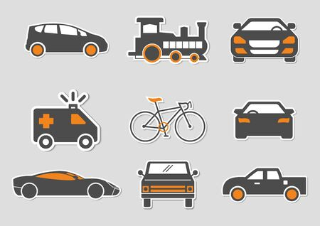 flat icons for Car front,Bicycle,Train,Emergency ambulance,pickup truck,transportation,vector illustrations