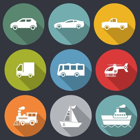 flat icons for car,truck,bus,helicopter,pickup truck,train,boat,ship,transportation,vector illustrations Ilustracja