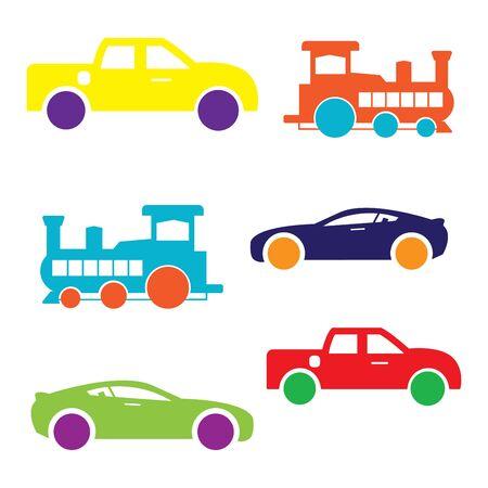 flat icons,car,train,pickup truck,transportation,vector illustrations