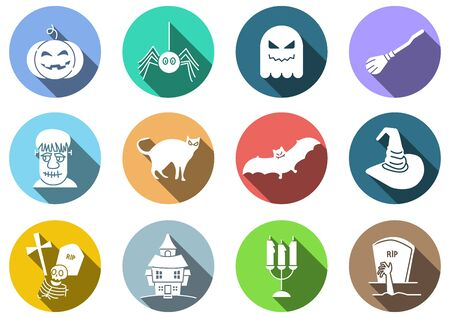 flat icons set of Halloween,witch hat,pumpkin,ghost,witch broom,cat,bat,candle,spider,tombstone,house,zombie,Hand reaching from the grave,vector illustrations Ilustracja