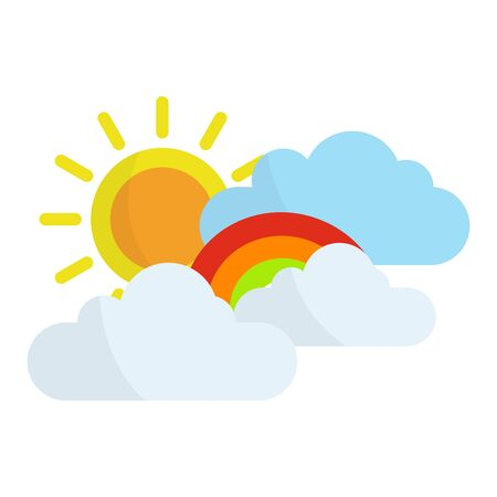 flat icons of sun,cloud,rainbow in modern style,vector illustrations