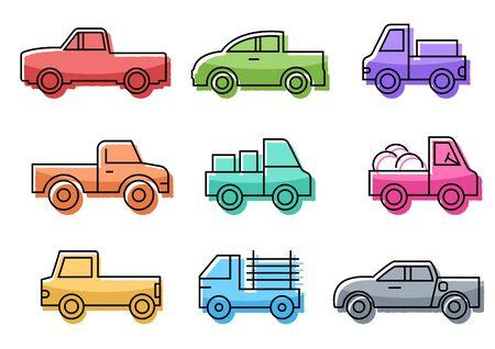 flat icons set,transportation,Pickup truck,vector illustrations