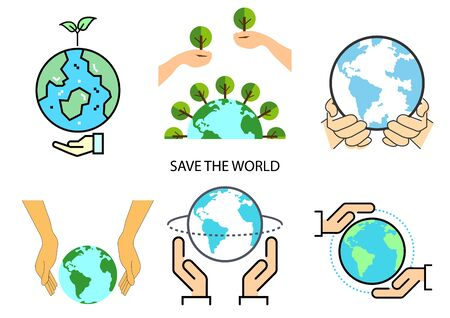 flat icons for save the world,hands,trees,vector illustrations Ilustracja