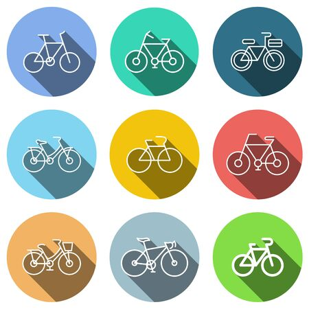 flat icons set, transportation, Bicycle and shadow. vector illustrations