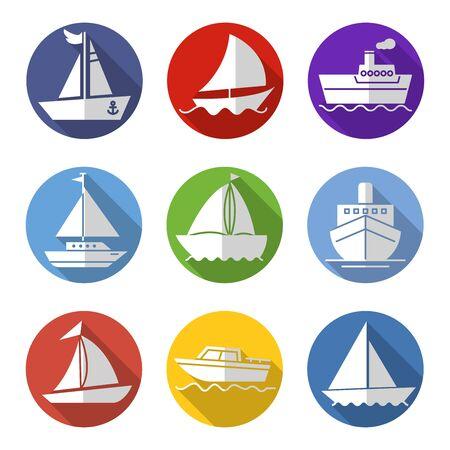 flat icons set,transportation,Boat,vector illustrations