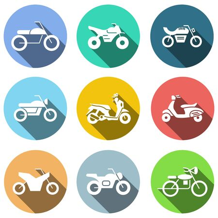 flat icons set, transportation, Motorcycle and shadow. vector illustrations