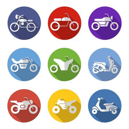flat icons set,transportation,Motorcycle, vector illustrations Ilustracja
