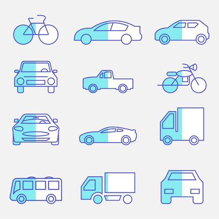 flat icons set,transportation,car front,bicycle,motorcycle,pickup truck,truck,bus,vector illustrations Ilustracja
