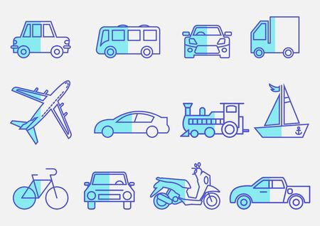 flat icons set,transportation,Airplane,Car,Truck,Bus,Train,Bicycle,Car front,Motorcycle,Pickup truck,Boat,vector illustrations Ilustracja
