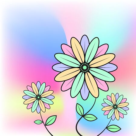 abstract background with flowers, vector illustration