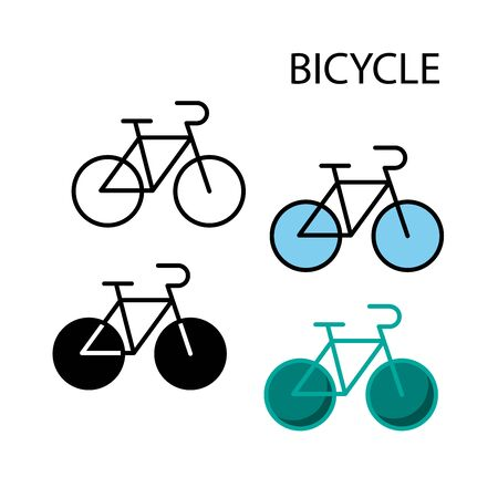 flat icons,solid icons,thin line icons for bicycle,vector illustrations