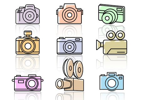 Camera flat icons and shadow,Vector illustrations