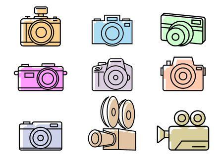 Camera flat icons,Vector illustrations