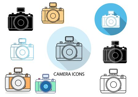 flat icons,solid icons,thin line icons for camera,vector illustrations