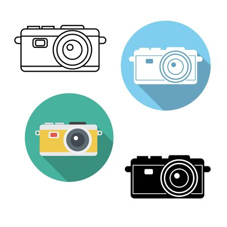 flat icons,thin line icons,solid icons for camera ,vector illustrations