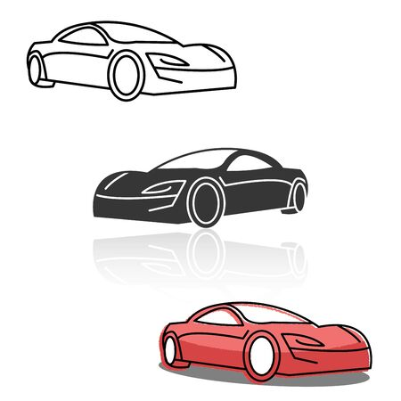 Thin line icon, solid icon. flat icon for Car side view, transportation. vector illustrations.
