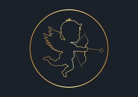 abstract background for Cupid silhouette,Gold color,vector illustrations