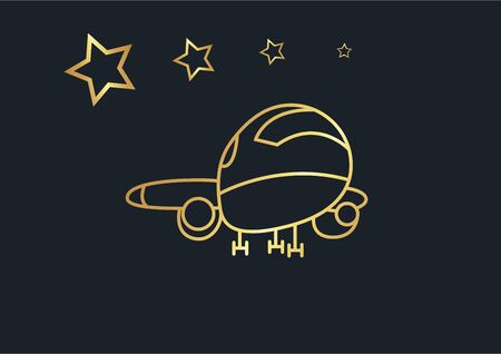 Abstract background of Airplane and star,transportation,Gold color,vector illustrations Ilustracja