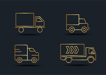 Abstract background of Truck sets, transportation, Gold color, vector illustrations Zdjęcie Seryjne - 148962363