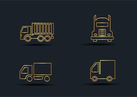 Abstract background of Truck sets, transportation, Gold color, vector illustrations