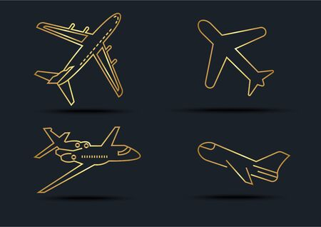 Abstract background of Airplane sets,transportation,Gold color,vector illustrations Ilustracja
