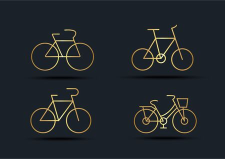 Abstract background of Bicycle sets, transportation, Gold color, vector illustrations