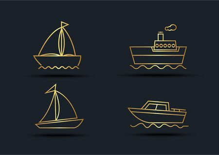 Abstract background of Boat sets, transportation, Gold color, vector illustrations