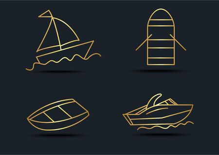 Abstract background of Boat sets,transportation,Gold color,vector illustrations