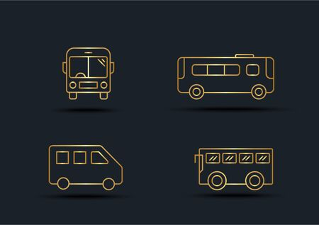 Abstract background of Bus sets,transportation,Gold color,vector illustrations