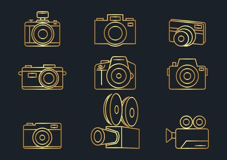 Camera icons,gold color,Vector illustrations